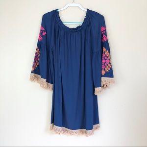 Velzera Boho Blue Embroidered Tassel Tunic Size 2X